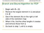 branch and bound algorithm for pdp