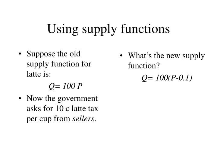 Suppose the old supply function for latte is: