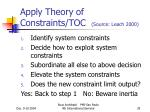 apply theory of constraints toc source leach 2000