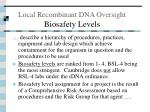 local recombinant dna oversight biosafety levels