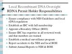 local recombinant dna oversight rdna permit holder responsibilities