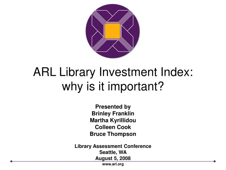 arl library investment index why is it important n.