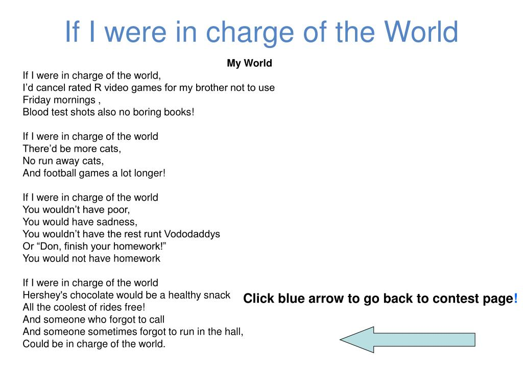 If I were in charge of the World