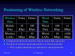 positioning of wireless networking
