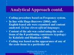 analytical approach contd