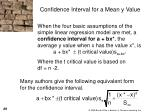 confidence interval for a mean y value