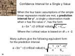 confidence interval for a single y value