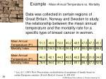 example mean annual temperature vs mortality