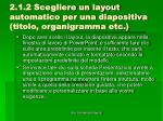 2 1 2 scegliere un layout automatico per una diapositiva titolo organigramma etc1
