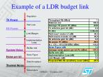 example of a ldr budget link