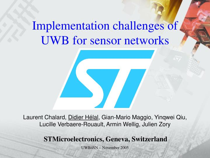 implementation challenges of uwb for sensor networks n.