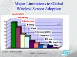 major limitations to global wireless sensor adoption