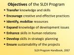 objectives of the sldi program
