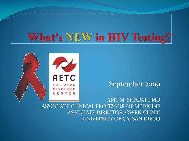 what s new in hiv testing n.