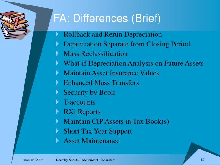 FA: Differences (Brief)
