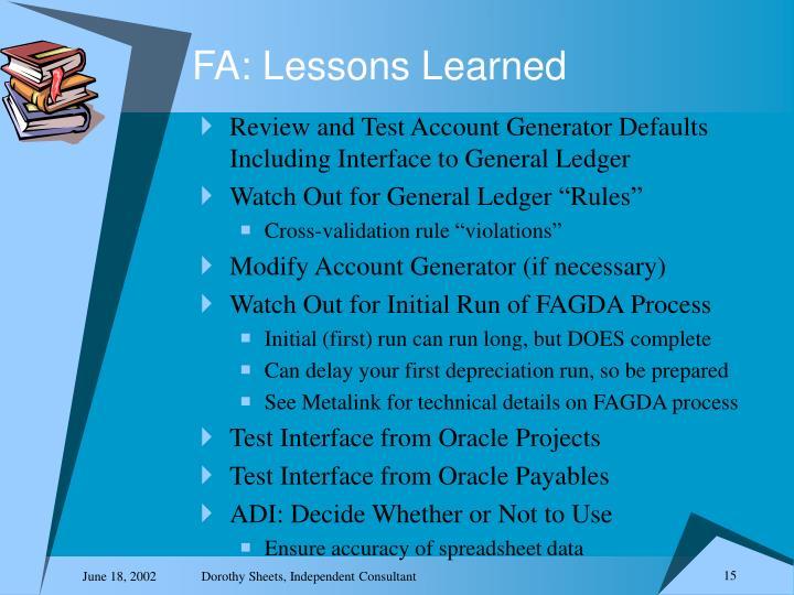 FA: Lessons Learned
