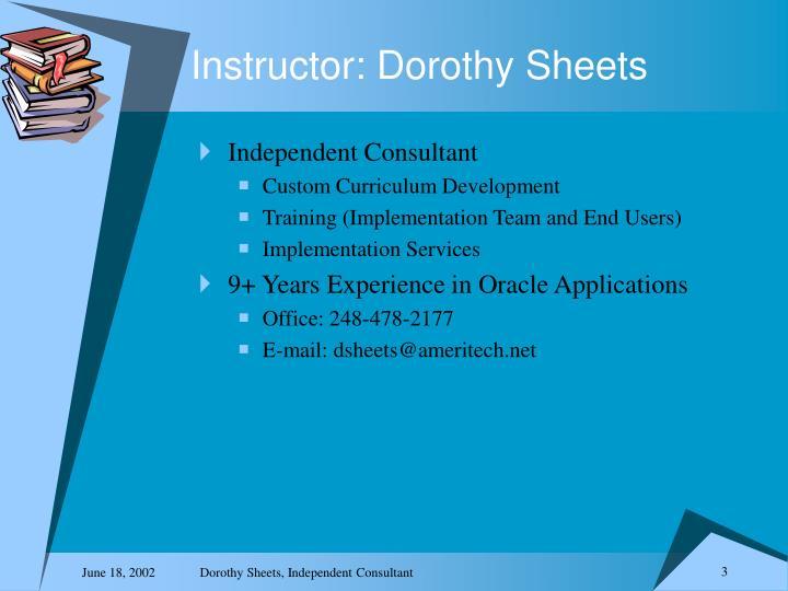 Instructor dorothy sheets