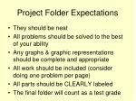 project folder expectations