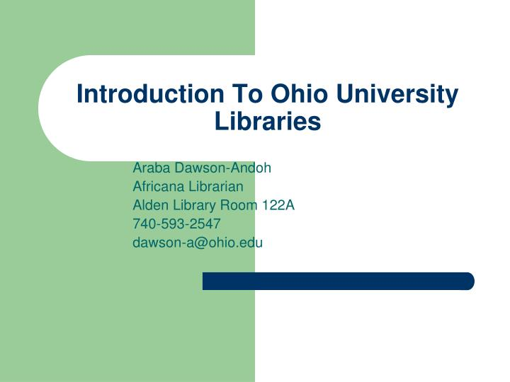 introduction to ohio university libraries n.