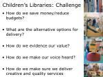 children s libraries challenge
