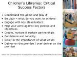 children s libraries critical success factors