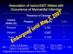 association of rsxxxx3207 alleles with occurrence of myocardial infarction1