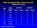 gwa genotyping data chromosome 22 parkinson s study1