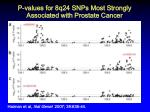 p values for 8q24 snps most strongly associated with prostate cancer