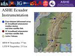ashe ecuador instrumentation
