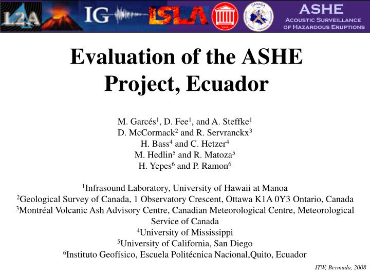 evaluation of the ashe project ecuador n.