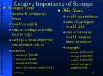 relative importance of savings