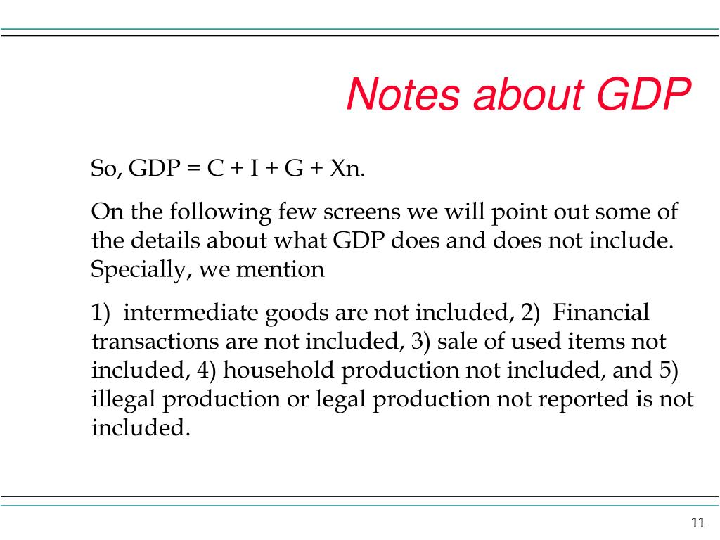 Notes about GDP