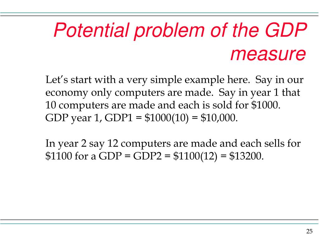 Potential problem of the GDP measure