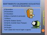 adattamento calendario scolastico ufficio di segreteria