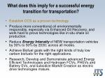 what does this imply for a successful energy transition for transportation