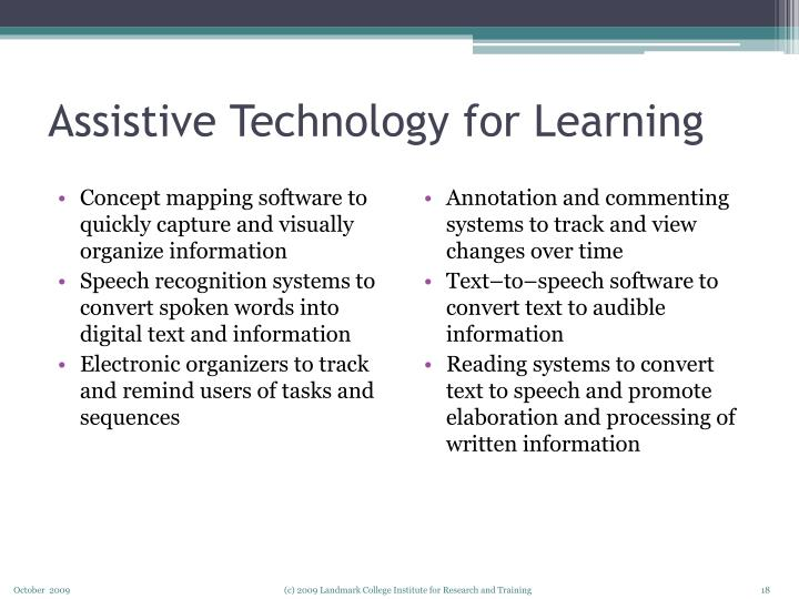 Assistive Technology for Learning