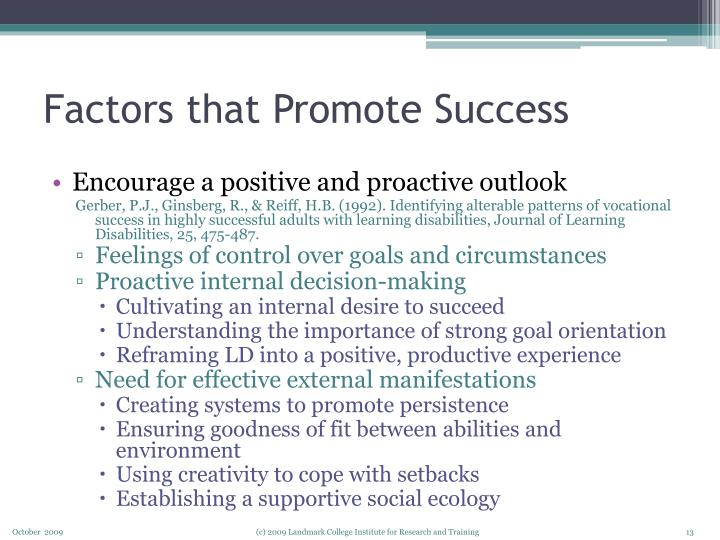 Factors that Promote Success