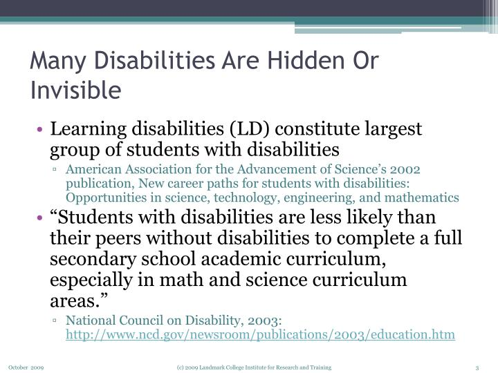 Many disabilities are hidden or invisible
