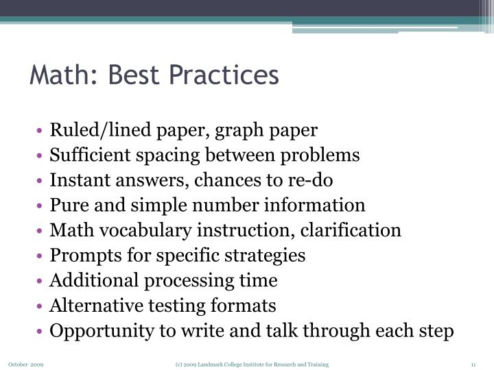 Math: Best Practices
