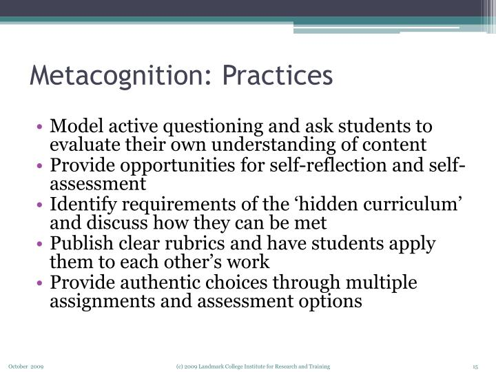 Metacognition: Practices