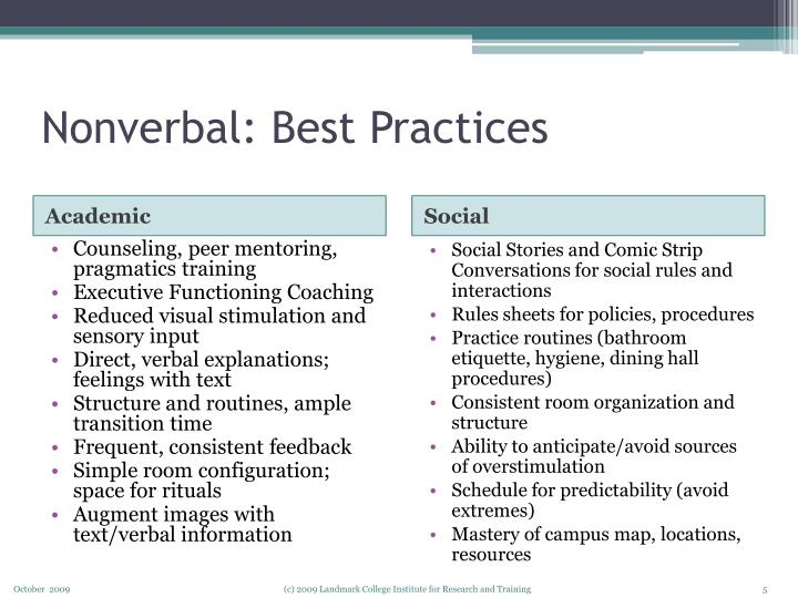 Nonverbal: Best Practices