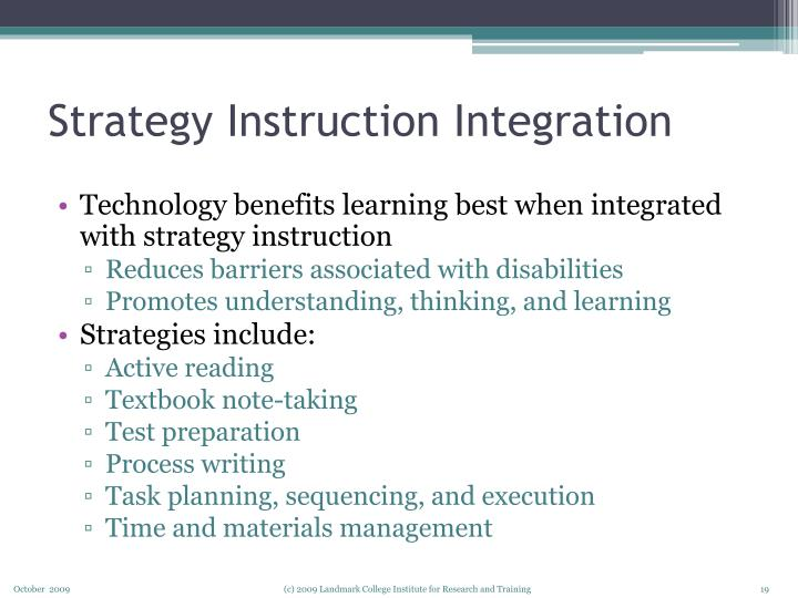 Strategy Instruction Integration