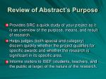 review of abstract s purpose