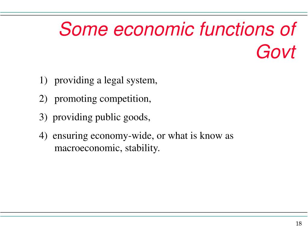 Some economic functions of Govt