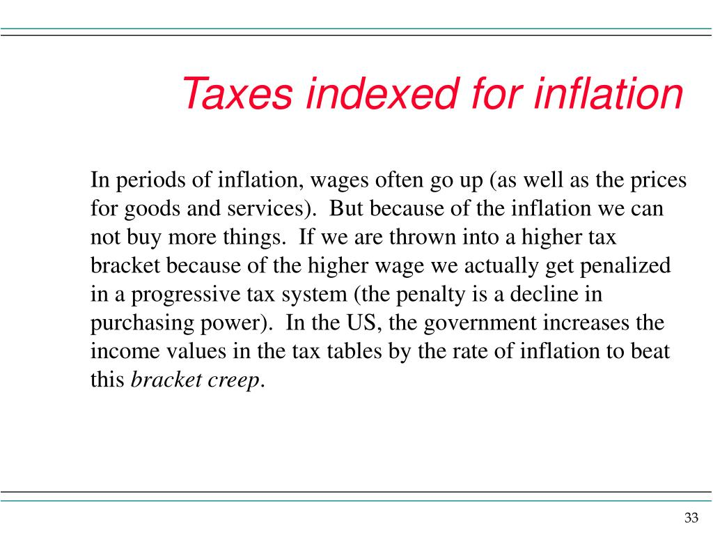 Taxes indexed for inflation