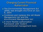 changing current provincial authorization