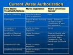 current waste authorization