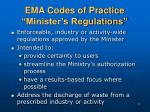 ema codes of practice minister s regulations