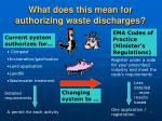what does this mean for authorizing waste discharges