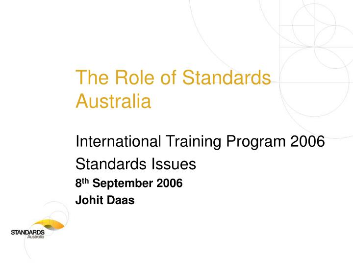 the role of standards australia n.
